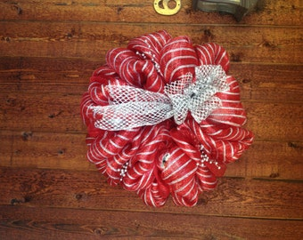 Large Red and Silver Christmas wreath