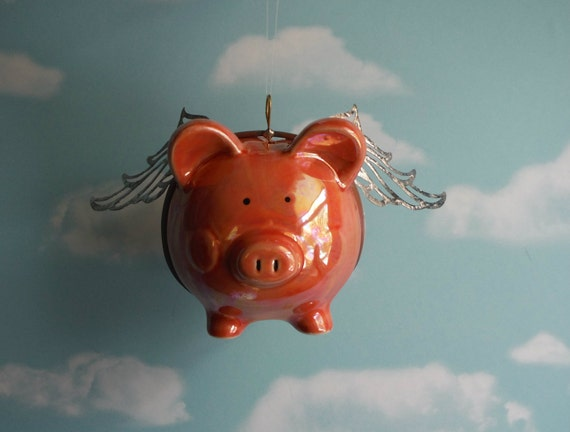 Flying Pig When Pigs Fly Upcycled Piggy Bank