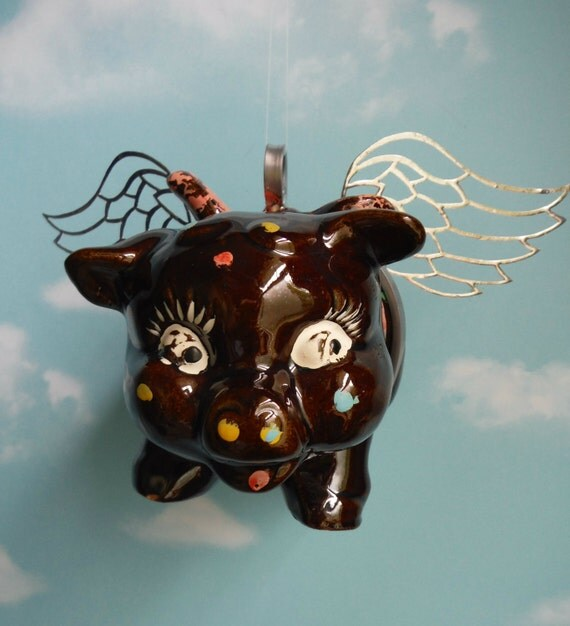 Vintage Piggy Bank Up Cycled Into Flying Pig