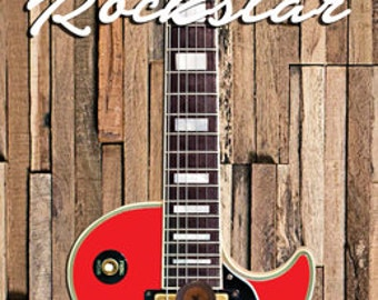 Rockstar Guitar Bottle Opener Mounted on Wood