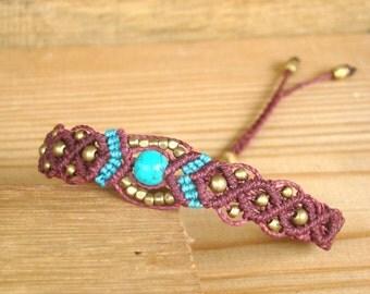 Bracelet Macrame Brass Hand Made Micromacrame  Bracelet - Gift for Her - Gift for Him