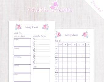 Weekly Schedule Pastel Pink Flowers, Weekly Planner Printable, week on two pages, kikki k medium, filofax personal