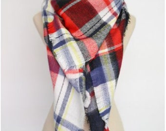 Multi-Coloured Red Soft Blanket Scarf