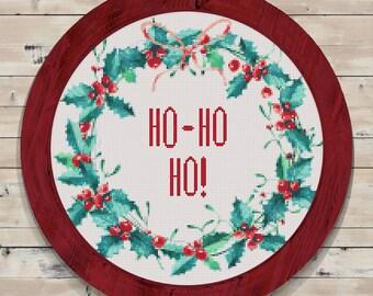 Christmas Wreath Cross Stitch Pattern Hohoho  // Instant PDF Download