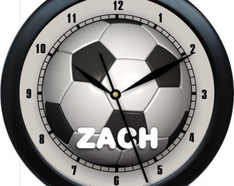 Soccer Inspired Personalized Wall Clock Boy's Room Decor High School College gift Booster Club