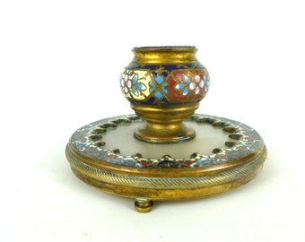 French Vintage Champleve Ink Well / Vintage Brass Candle Holder