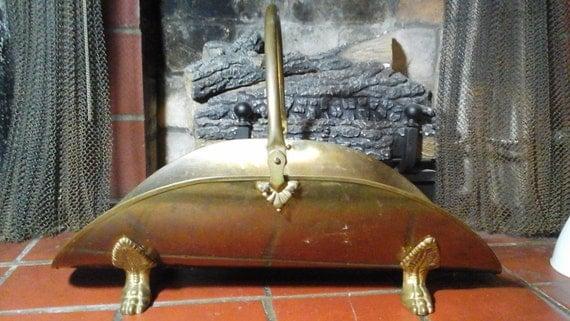 Brass Log Basket Vintage Firewood Holder Carrier Solid