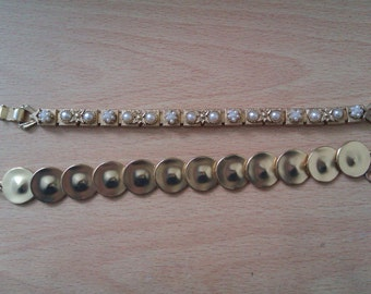 2 Vintage gold coloured bracelets