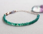 SALE Delicate Green Quartz & Iolite Gemstone Bracelet w/ 14k Rose Gold, Minimal Healing Beaded Jewelry 3mm Green Purple Semi Precious Stones