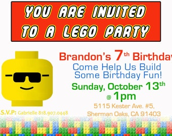 Lego Theme - Birthday Party Invitations