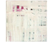 modern abstract ready to hang painting White Grays Red Lumieres 020 small square 12 x 12