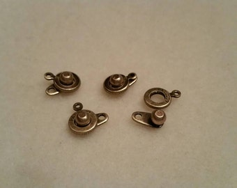 Antique Brass 8mm ball and socket clasps, 4 pieces, SKG01AB