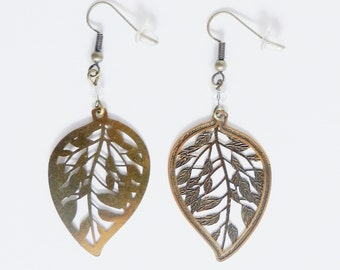 Leaf Nature in brass and Perle Swarovski earrings