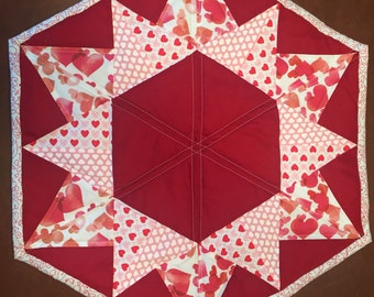 "TRUE LOVE Hexagonal Quilted Table Runner - 22""x19"""