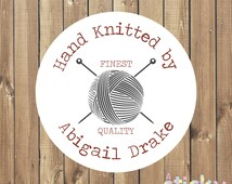 Personalized Knitting Stickers, Hand Knit Stickers, Packaging Stickers, Handmade Stickers, Knitting Labels, Knitting Tags, Hand Knit Labels