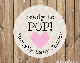 Personalized Ready to Pop Stickers, Baby Shower Stickers, Ready to Pop Label, Baby Shower Favor, Popcorn Stickers, Ready to Pop, Baby Shower