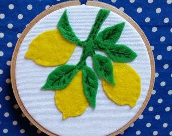 Lemon Wall Hanging. Handmade Fruit Kitchen Decor in Embroidery Hoop