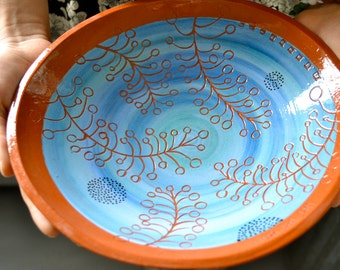 Ceramic Bowl, Pasta Bowl, Salad Bowl, Vintage Design, Sgraffito, Underglaze, Handpainted and Carved, Wonky Shape,  Blue, Gift