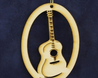 Rockin' Guitar Ornament~ Made from Wood~ Blank or Personalized~ USA made