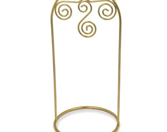 "7.75"" Gold Tone Metal Swirl Display Holder Ornament Stand- SKU # DC-17085"