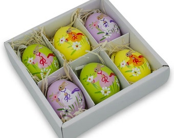 "2.5"" Set of 6 Real Eggshell Bunny and Flowers Pysanky Easter Egg Ornaments- SKU # TT-998Z-0191"