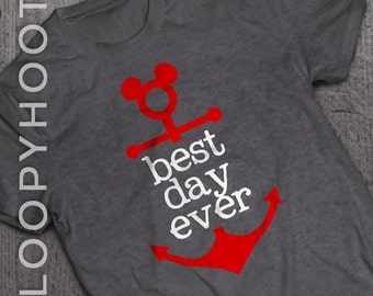 """Disney Cruise Shirts """"Best Day Ever"""" Mouse Anchor Family Vacation shirt in DEEP HEATHER GRAY"""