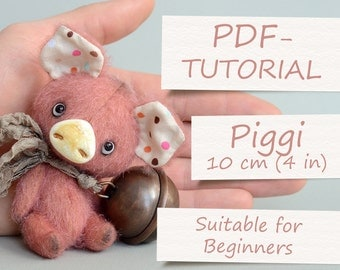 Miniature Piggy Creation - Step-by-step PDF-Tutorial with Pattern by ABCbears (10 cm / 4 in)