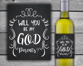 INSTANT DOWNLOAD - Will You Be My Godparents - Wine Bottle Label - Printable- DIY - Digital Wine Label - 00145