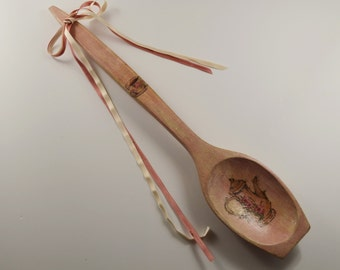 Decoupage wooden spoon/Wall decor