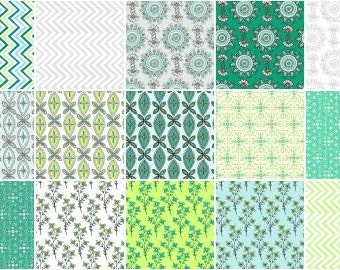 Emerald Sky 10 Inch Squares Layer Cake, 42 Pieces, Ellen Crimi-Trent, Clothworks, Precut Fabric, Quilt Fabric, Cotton Fabric, Modern Fabric
