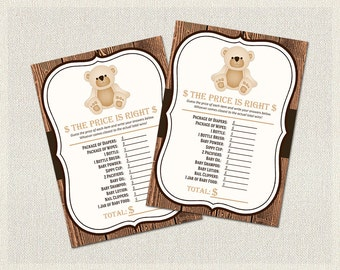 The Price is Right | Baby Shower Games Rustic Wood | Baby Item Cost Game Teddy Bear  Gender Neutral Baby Shower BS-140
