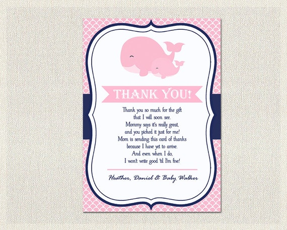 Nautical Baby Shower Thank You Card Nautical Pink Blue Whale Thank
