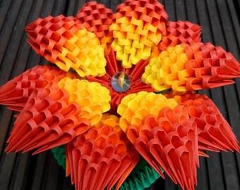 3d origami flower, parrot