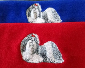 Embroidered Shih tzu Scarf
