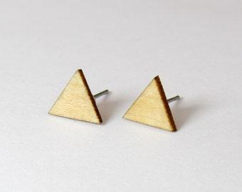 Triangle Stud Earrings - Maple Wood / Sterling Silver