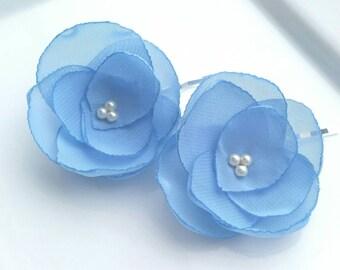 Bridal or bridesmaid hair pins pretty blue hair flowers blue  bridesmaid hair accessories flower hair accessories something blue