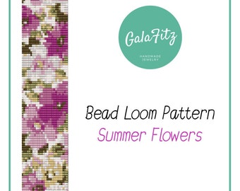 Bead loom pattern summer flowers Loom bead pattern purple flowers