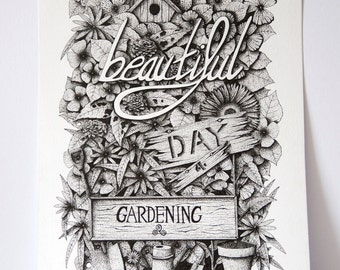 Beautiful Garden Mural, floral typography, beautiful quote, pointillism drawing, floral dot work, flora, quote print, floral art print