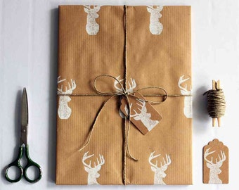 Christmas wrapping paper | Hand printed gift wrap set | 1 sheet of paper 70x100cm/27.5x39.5'' | 2 gift tags | 5m/5yd twine | White deer