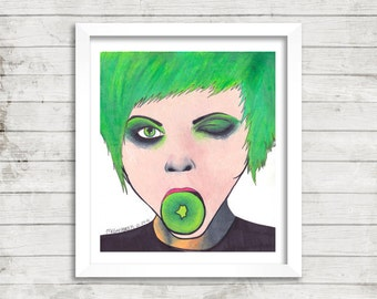 Girl Art, Kiwi Art, Green Haired Girl Art, Mixed Media Art, Original Drawing