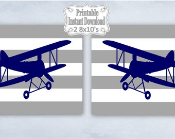 Printable Antique Vintage Planes Airplanes Bi-planes Navy Grey Nursery Wall Art Decor Baby Child Kids ~ DIY Instant Download ~ 2 8x10 Prints