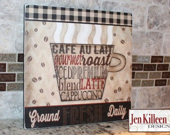 "Coffee Sign/ ""Ground Fresh Daily"" / Coffee Wood Sign / Coffee Art Decor / Coffee Themed Gift"