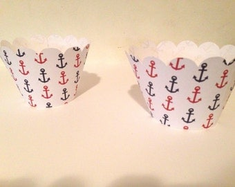 Nautical Cupcake Wrappers - 12 - Nautical Party Decorations - Nautical Baby Shower - Anchors - Sail Boat - Nautical Birthday Party -Baby Boy