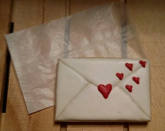 "Envelope Heart Cookie - large 4 1/2"" x 3"" cookie - Half Dozen"