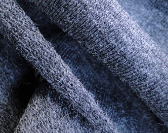 Dark grey fabric, SOLD BY 1 YARD, cotton bamboo stretch french terry, Charcoal Grey.