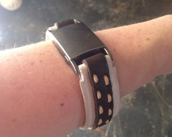 Brown and White Leather Bracelet