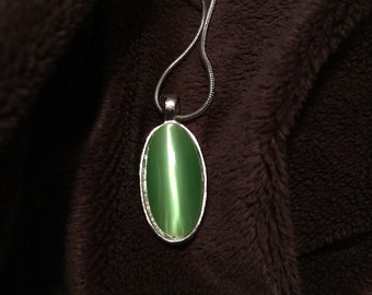 Oval Lime Green Pendant with Chain