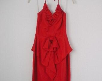 1980s Red Halter Dress Ruffle Dress Bow Karen Okada