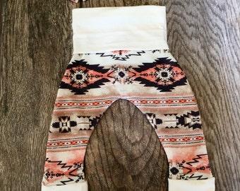 Pink Aztec Knit Leggings and Headband