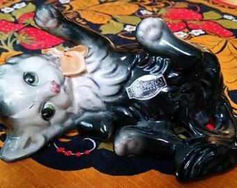 Brad Keeler, Kitschy Kitten, 1940s, 1950s ceramic, black and white, kitten, cat collector, kitsch, kitten